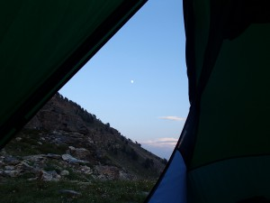 Couldn't ask for a better moonlit view. From Campsite below the saddle to Echo Lake.